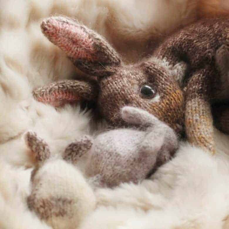 lockdown craft idea: teeny tiny baby rabbit knitting pattern by claire garland and available to buy on Etsy We also share a free baby bunny knitting pattern download too #knitting #pattern #bunny #rabbit #lockdown #craft
