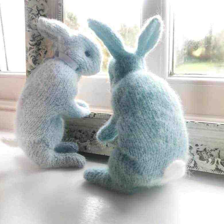 little blue bunny knitting pattern - easy beginner knit with tips and video tutorial by Claire Garland of Dot Pebbles Knits made using Drops alpaca silk yarn