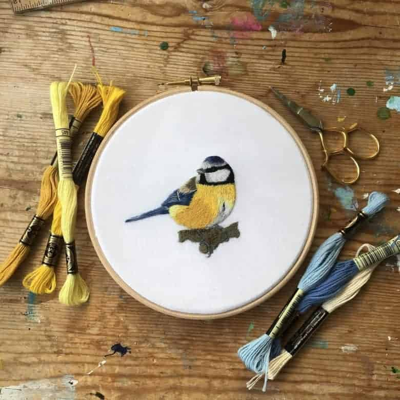 embroidery kit blue tit bird - perfect craft activity for surviving lockdown #embroidery #craft #ideas #bird #bluetit #lockdown #frombritainwithlove