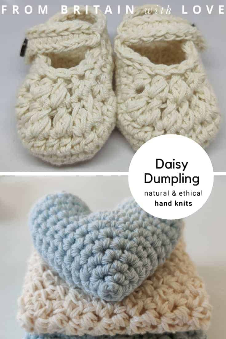 daisy dumpling handmade ethical organic natural knits for babies and women including this beautiful newborn booties and comforter crochet knits #organic #baby #gifts #crochet #knits #frombritainwithlove