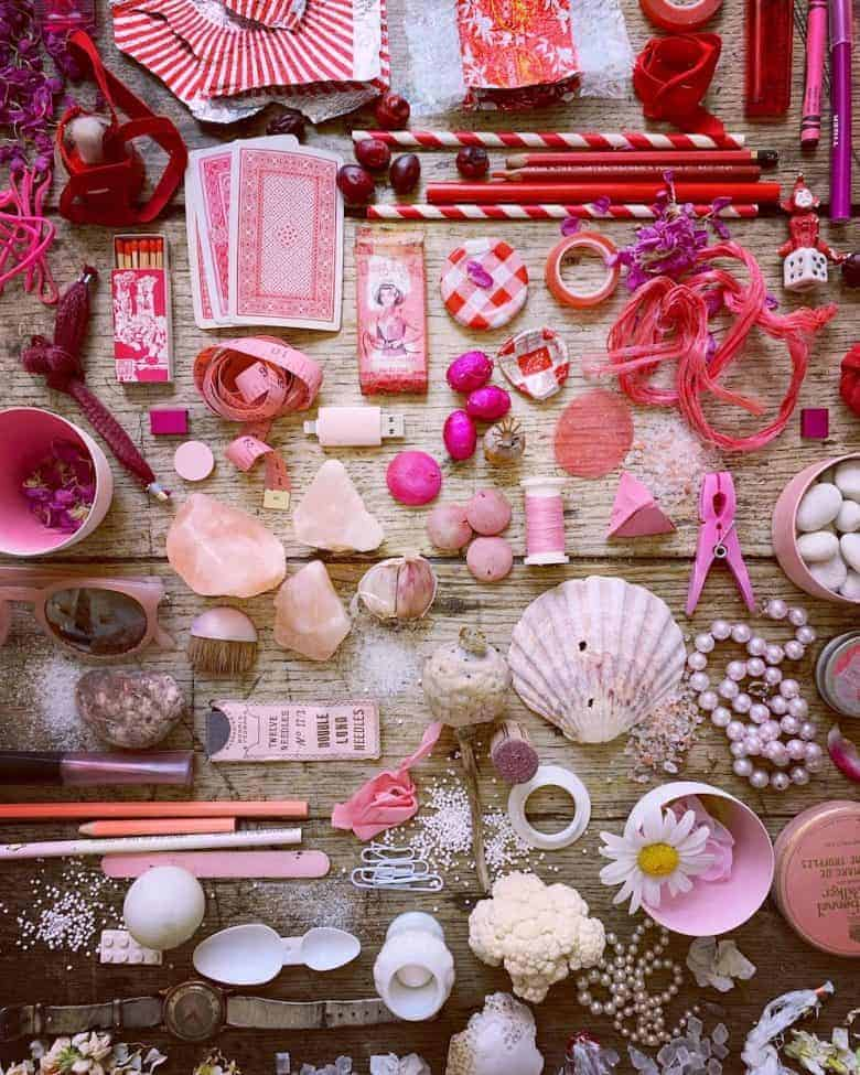 flatlay photography free live workshop for instagram and beyond colour collecting @5ftinf