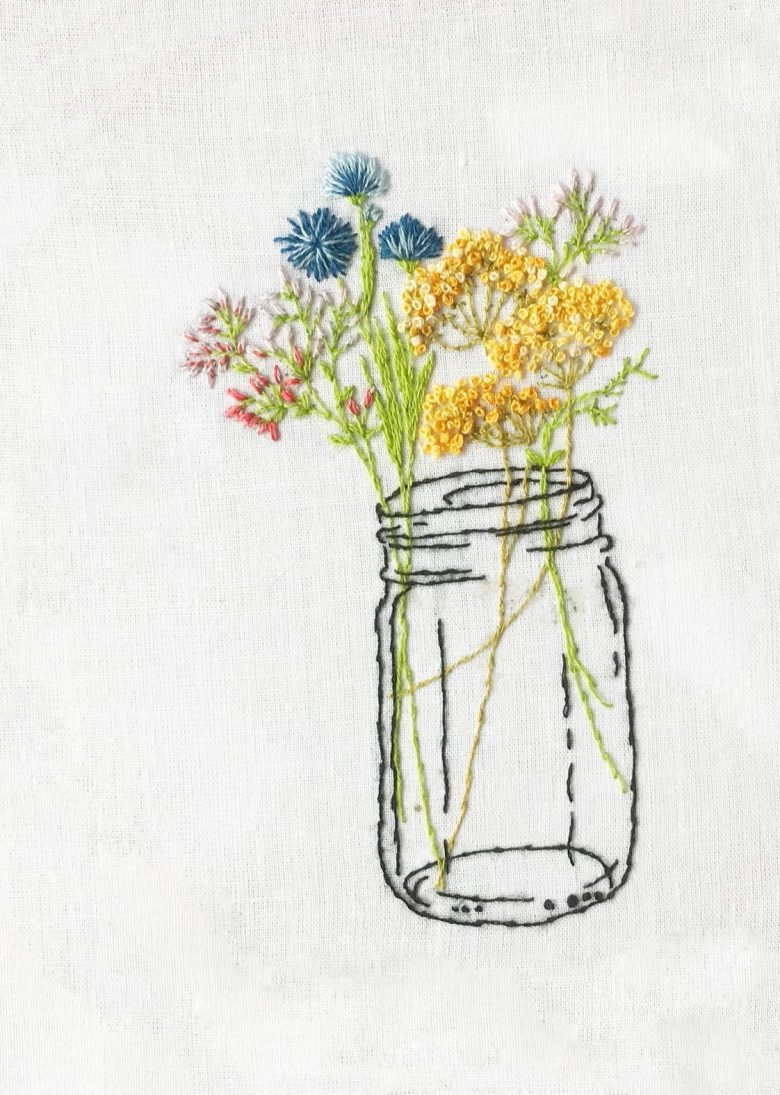 embroidery kit jam jar flowers perfect craft activity for surviving lockdown #embroidery #craft #ideas #lockdown #jamjar #flowers #frombritainwithlove
