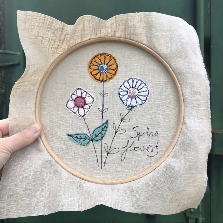 learn freehand machine embroidery with poppy treffry using old fabrics, linen and embroidery hoop #freehand #embroidery #poppytreffry #frombritainwithlove