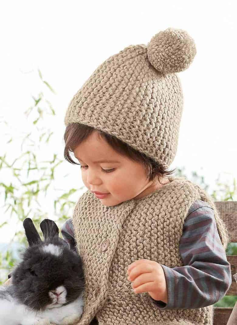 lockdown craft idea - knit a simple baby hat and gilet - just one of 13 free knitting patterns ideas for babies and other beautiful lockdown craft ideas #lockdown #craft #ideas #knitting #free