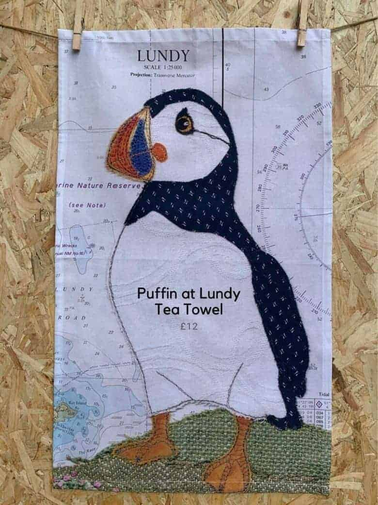 hannah wisdom puffin tea towel