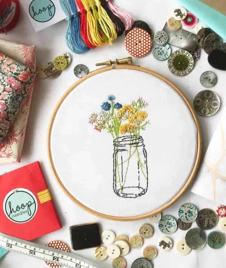 embroidery kit jam jar flowers perfect craft activity for surviving lockdown #embroidery #craft #ideas #lockdown #frombritainwithlove #jamjar #flowers