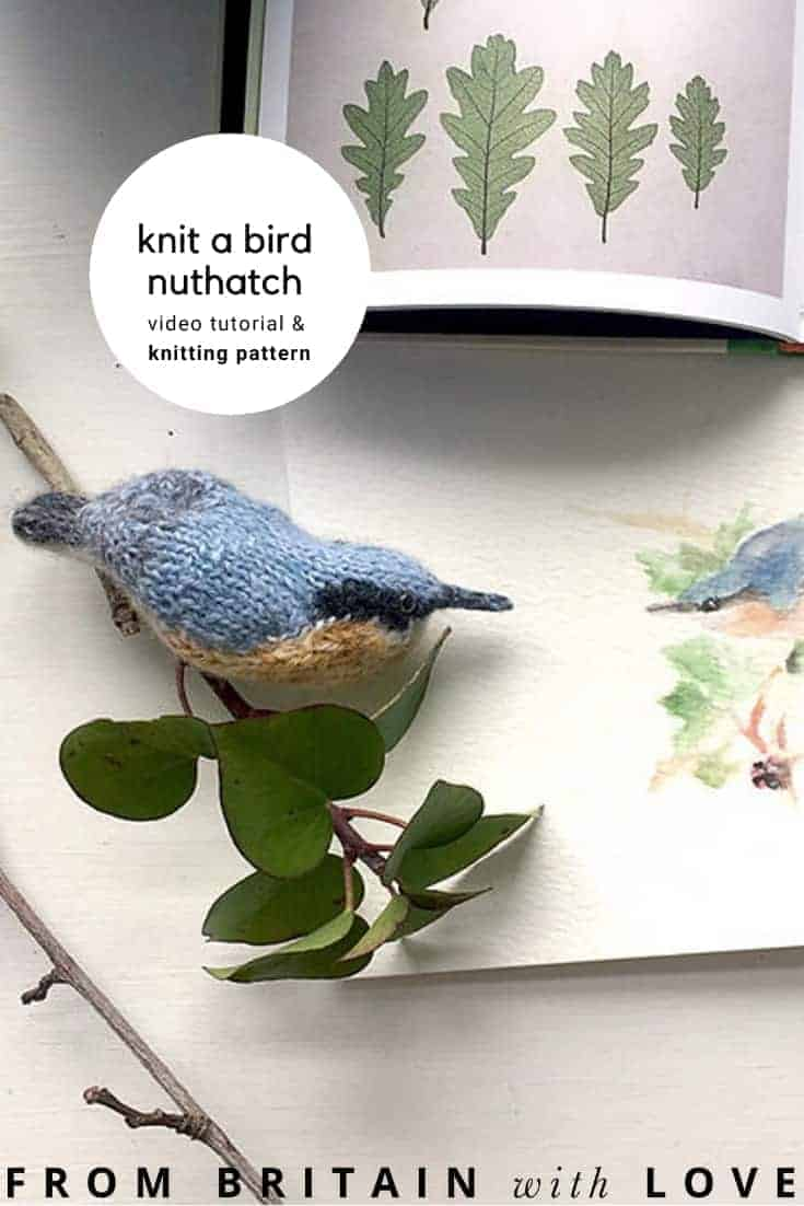 nuthatch bird knitting pattern by claire garland of dot pebbles knits with pattern pdf download and video tutorial #knitting #pattern #bird #nuthatch