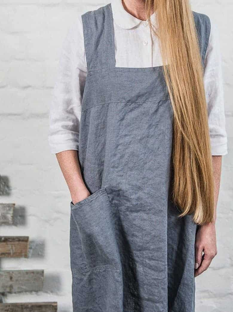 japanese style linen pinafore apron charcoal swedish house at home