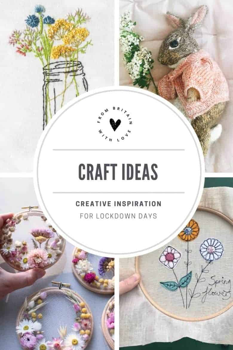 craft ideas for lockdown including knitting a bunny (free pattern), sewing a cross back apron dress, freehand machine embroidery and botanical dried flower embroidery hoop art #lockdown #craftideas #freepatterns #knitting #embroidery #sewing #felting #frobritainwithlove