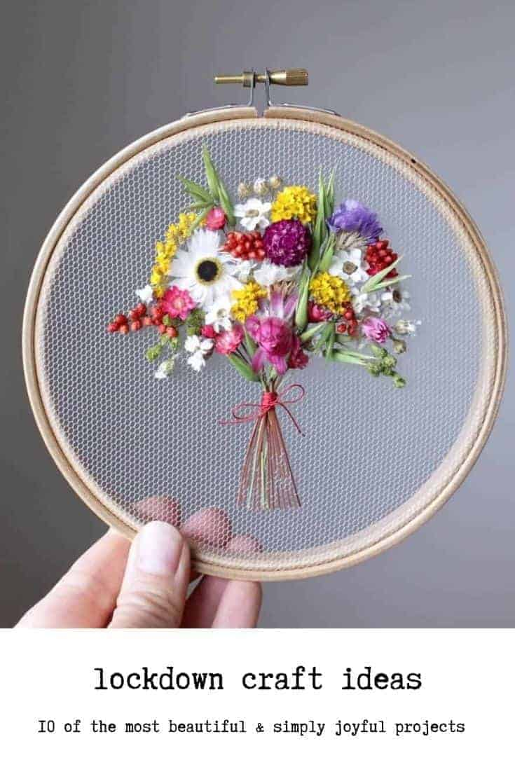 how to make dried flower embroidery hoop art with olga prinku - free step by step tutorial to embroidering on tulle with dried flowers - just one lockdown craft idea I think you'll love #lockdown #craft #driedflowers #embroidery