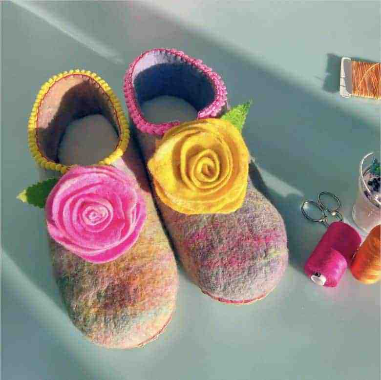 lockdown craft idea - how to make felt slippers with gillian gladrag and our easy step by steps #lockdown #craft #ideas #slippers #felting