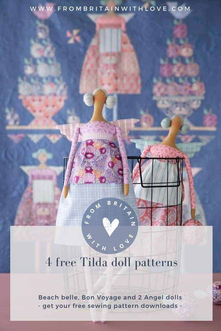 tilda doll free pattern autumn angel made using fabrics from the plum garden collection #tilda #doll #free #pattern #plumgarden #angel #frombritainwithlove