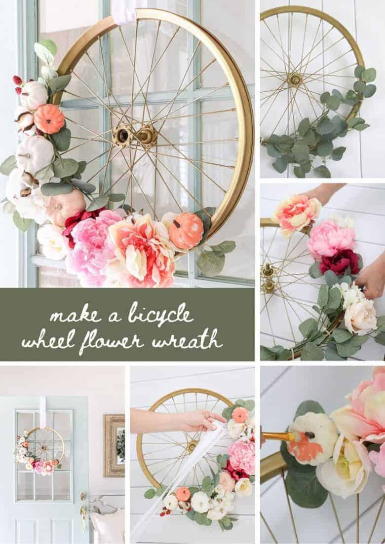 love this bicycle wheel wreath DIY craft tutorial idea by Life on Summerhill. Click through to get all the info you need including step by steps and tutorial #bicycle #wheel #wreath #diy #tutorial #upcycled #frombritainwithlove