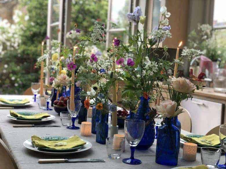 british flowers week table setting flowers with jamjar flowers. blue glass vases and jars