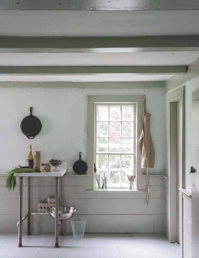 love this rustic utility room painted in Drop Cloth and Shadow White by Farrow & Ball to create a modern rustic feel with painted beams and rustic tongue and groove panelling, vintage finds just one of the stunning ideas I've shared for creating a modern rustic feel in your home #farrowandball #dropcloth #shadowwhite #rustic #paint #utility