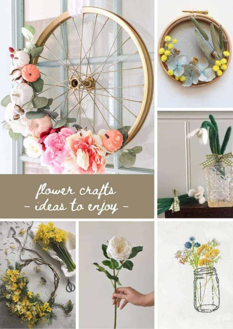 flower crafts ideas diy tutorials including bicycle wheel wreath, dried flower embroidery hoop art, needle felted flowers, hand embroidered jam jar flowers and more #flowercrafts #embroidery #driedflowers #wreath #frombritainwithlove