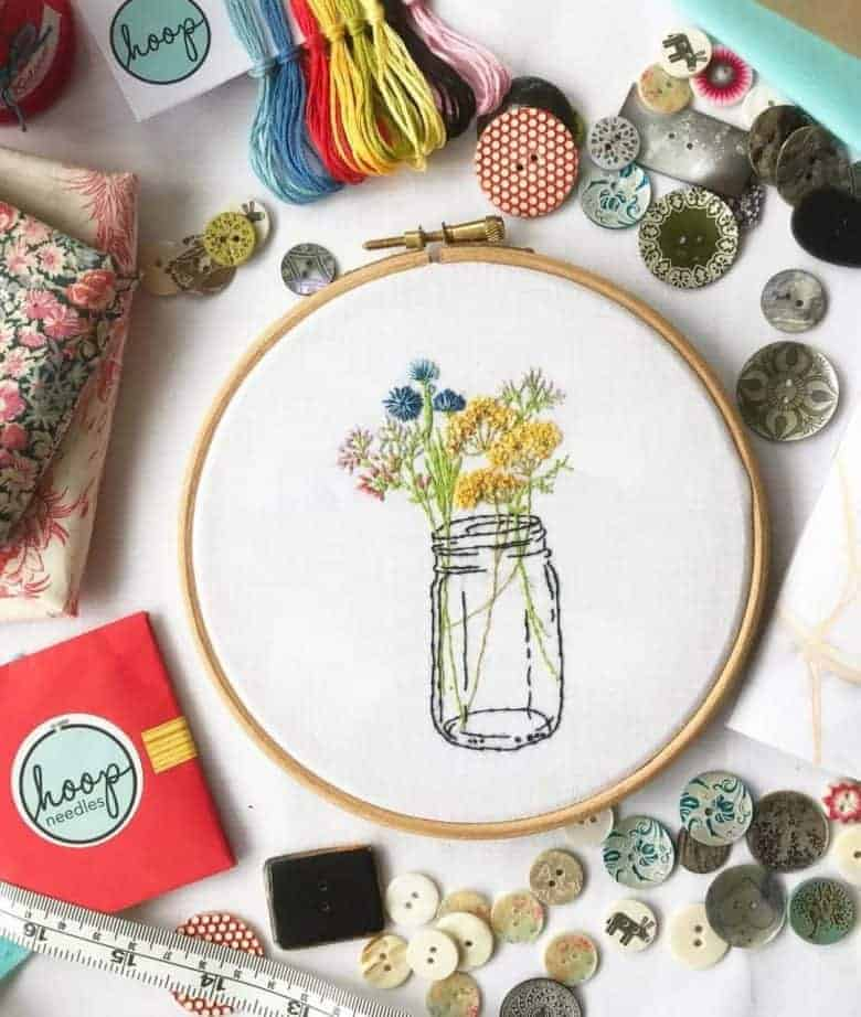 flower crafts jam jar flowers embroidery kit #flowerscraft #embroidery #jamjar #flowers #frombritainwithlove #embroidery