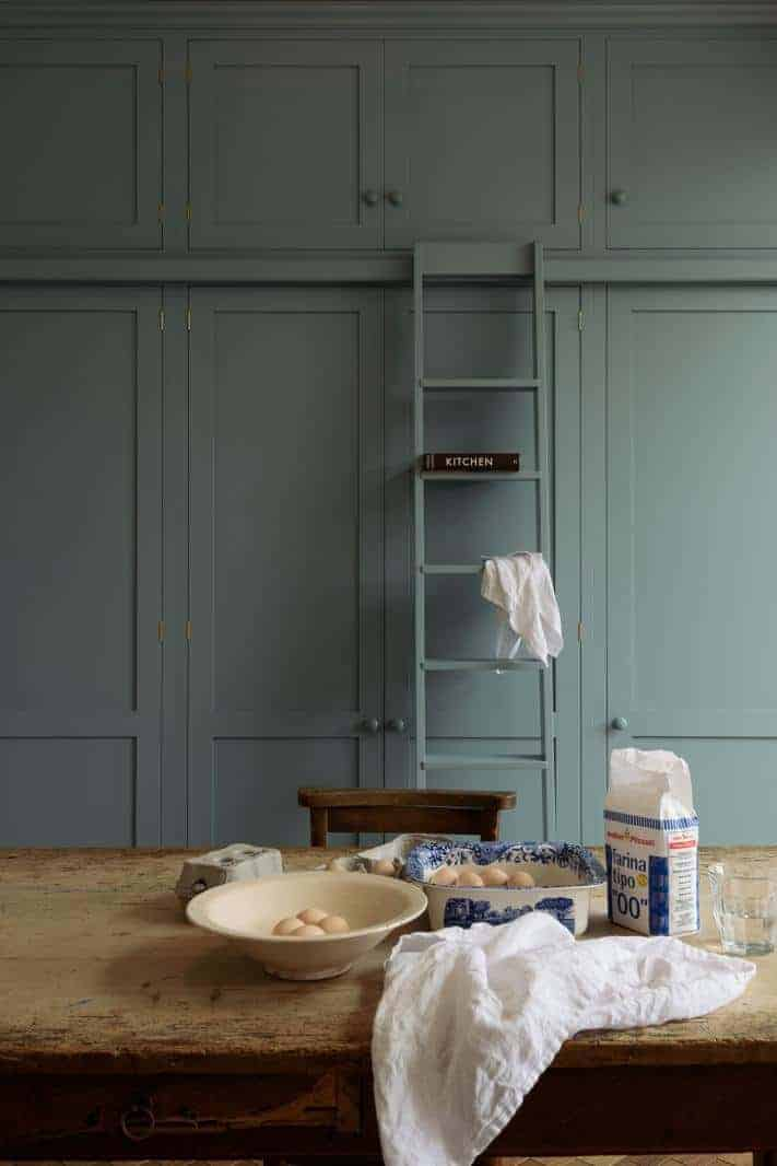 kitchen ideas tall built in shaker cupboards with ladder painted blue grey #kitchenideas #cupboards #ladder #blue #grey
