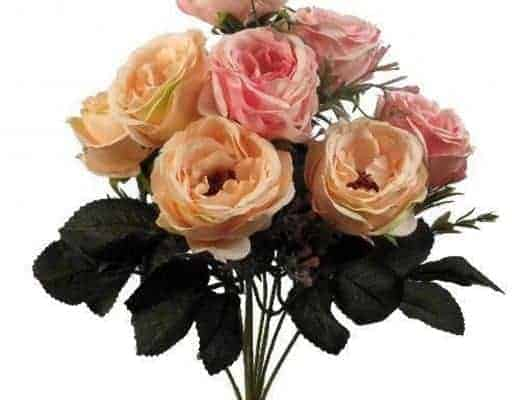 pink peach coral faux roses bunch
