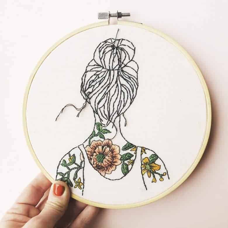 tattoo flowers woman embroidery hoop illustration kit #embroidery #hoop #tattoo #flowers #womab