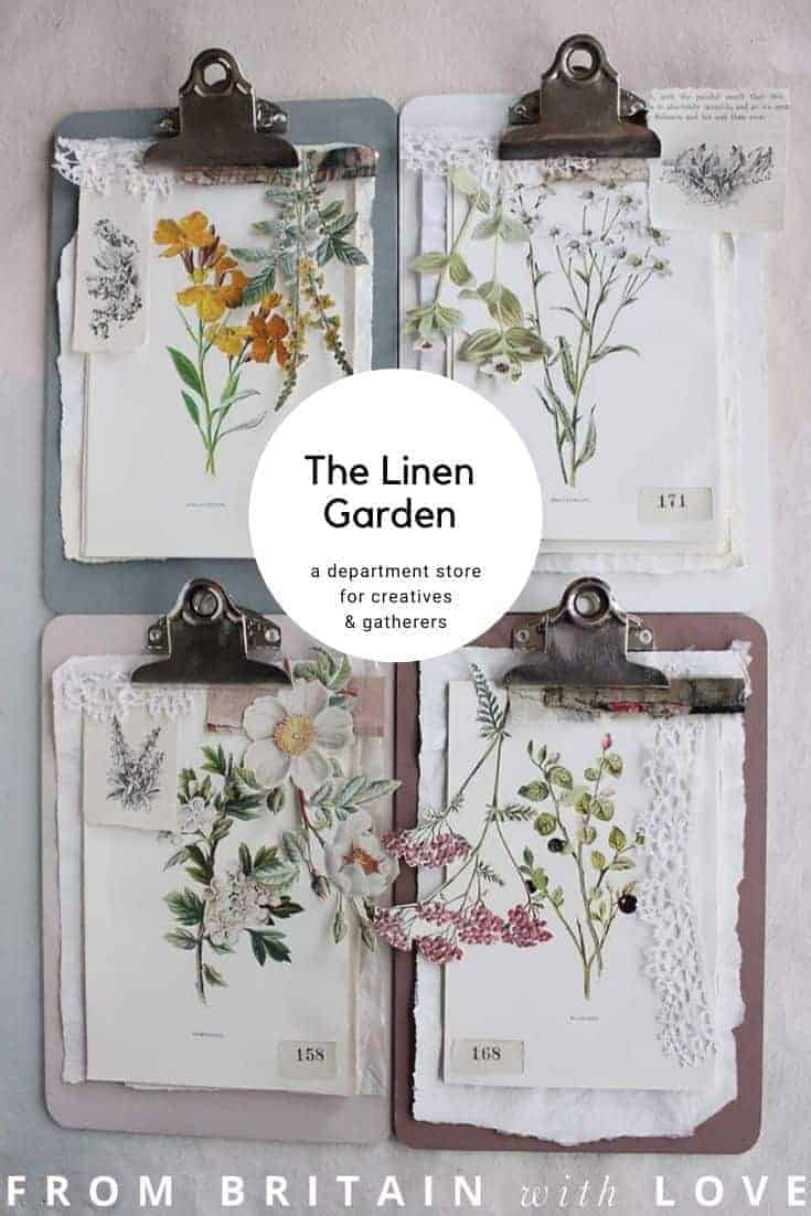 the linen garden online department store selling vintage linens, vintage sanderson fabric, haberdashery, vintage china, pottery, paintings, prints and more