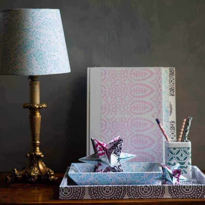 yateley papers lampshades box files, printed trays and stars all made with hand block printed papers
