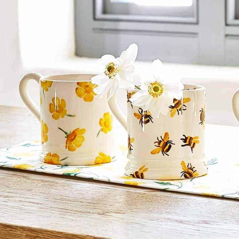 buttercup and bumblebee mugs by emma bridgewater. click through to buy our pick of the most beautiful designs, all beautifully made in britain #emmabridgewater #pottery #buttercup #bumblebee #frombritainwithlove