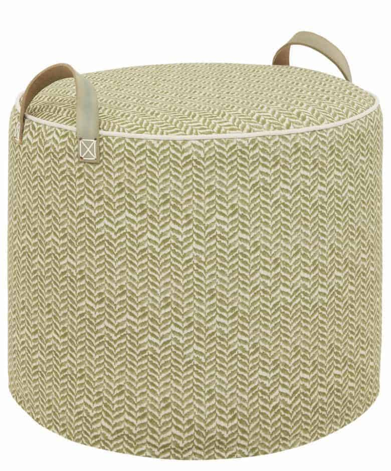 dark olive printed linen artisan pouffe by tuffet co