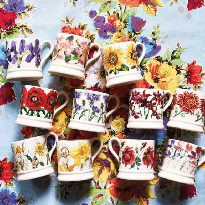 emma bridgewater pottery flower mugs - roses, iris, buttercups, daffodil, roses, sunflowers, sweet peas and more all made in Britain with care #emmabridgewater #pottery #madeinbritain #mugs #flowers