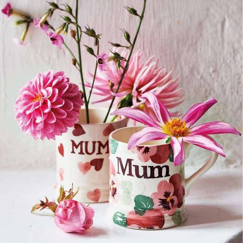 personalised emma bridgewater mum mugs for mother's day and beyond made in Britain with care #emmabridgewater #pottery #madeinbritain #mugs #flowers