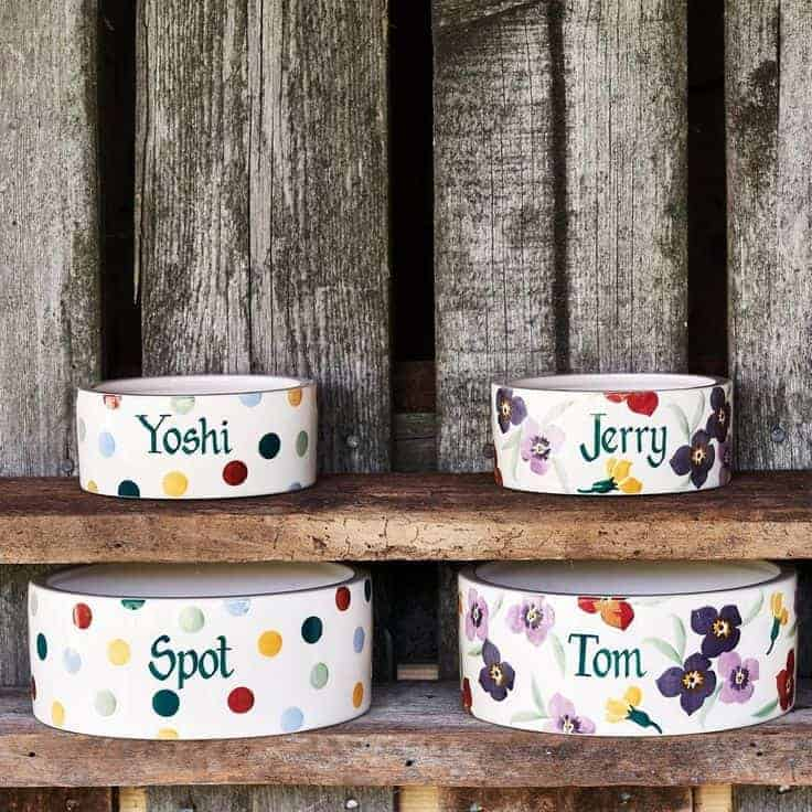 emma bridgewater pottery pet dog bowl personalised. click through to buy our pick of the most beautiful designs, all beautifully made in britain #emmabridgewater #pottery #dogbowl #pets #frombritainwithlove
