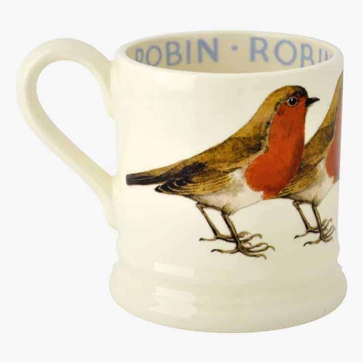 robin mug emma bridgewater pottery. click through to buy our pick of the most beautiful designs, all beautifully made in britain #emmabridgewater #pottery #robin #frombritainwithlove
