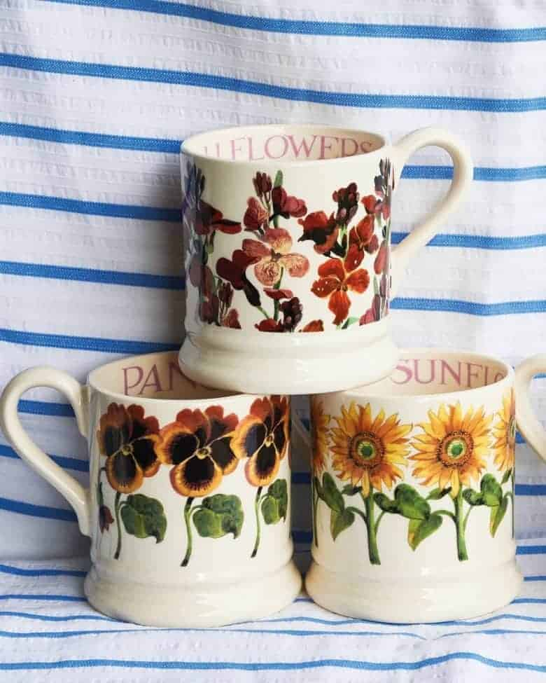 emma bridgewater pottery flower mugs - roses, iris, buttercups, daffodil, roses, sunflowers, pansies, sweet peas and more all made in Britain with care #emmabridgewater #pottery #madeinbritain #mugs #flowers