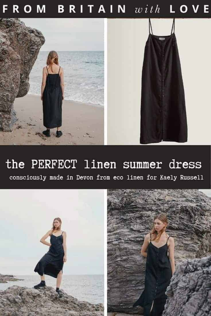 the perfect black linen summer strappy linen dress with buttons down the front and slit - sustainably made in the UK by Kaely Russell using oeoko-tex certified linen and handcrafted with conscious care to be worn season after season and only get better with wear #black #linen #dress #strappy #ethical #eco #conscious