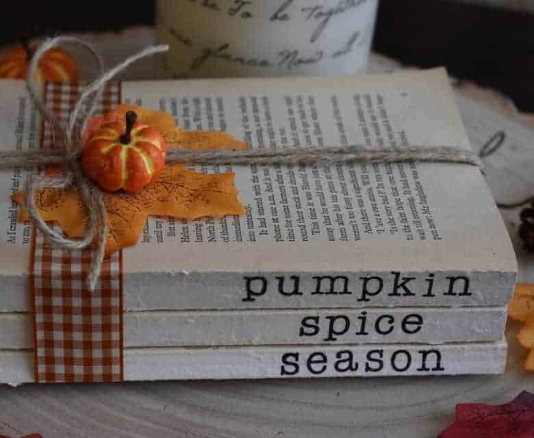 autumn decor idea stack of books