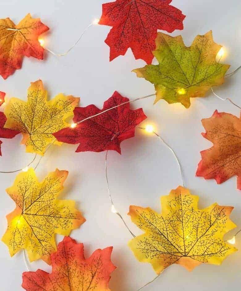 autumn decor idea handmade leaf garland fairy lights from etsy