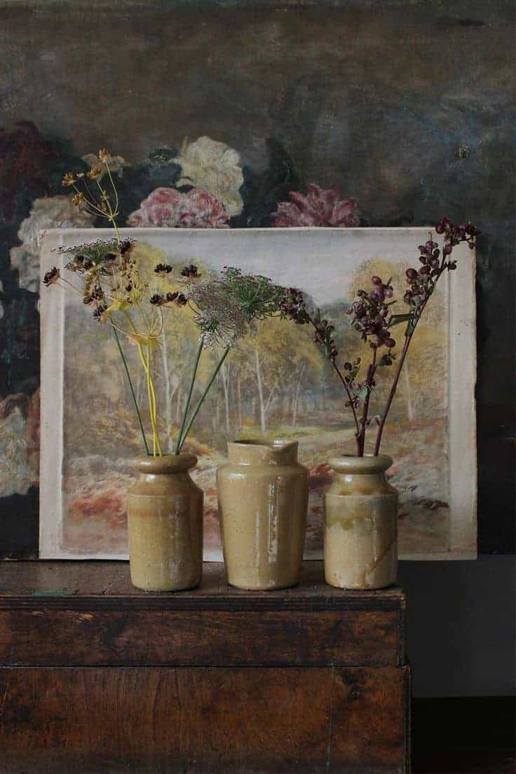 autumn decor vintage ceramic pot jars the linen garden