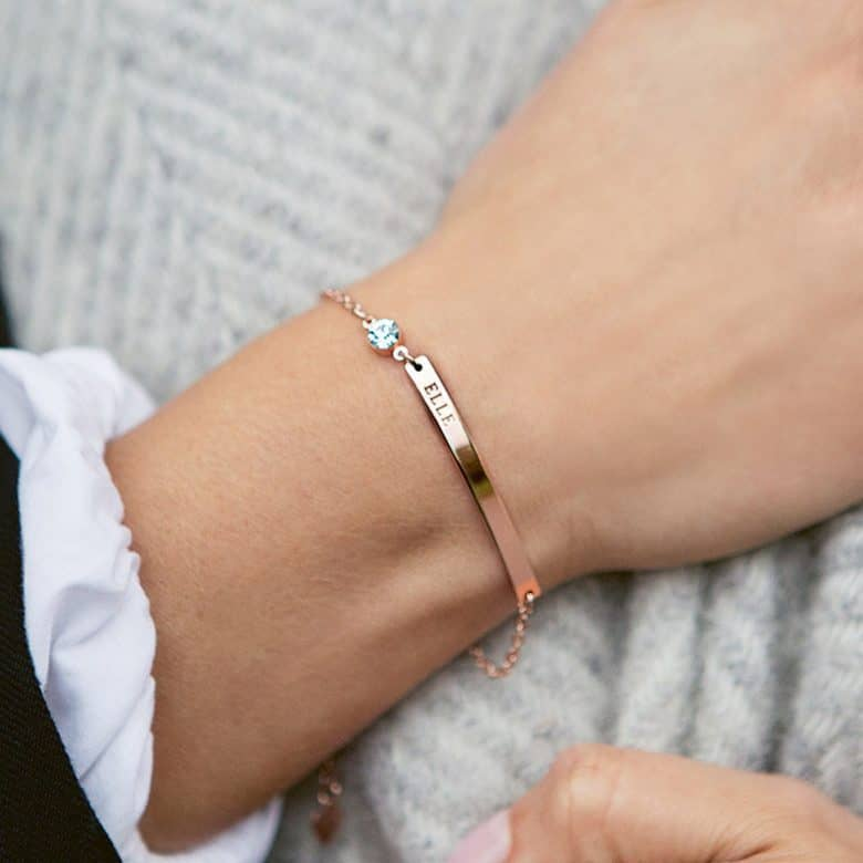 handmade personalised bracelet with birth gemstones by swarovski made in brass choose from rose gold or silver colour #bracelet #personalised #handmade #swarovski #birthstone