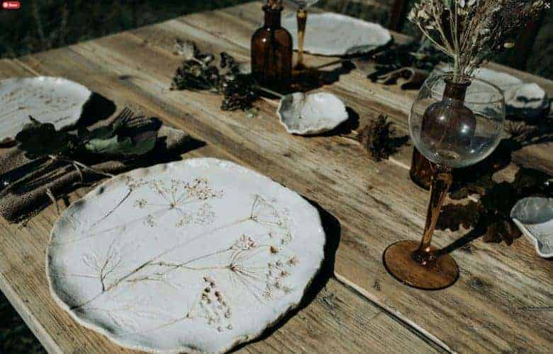 autumn decor outdoor table ceramic seedhead plate ceramics and smoky glass