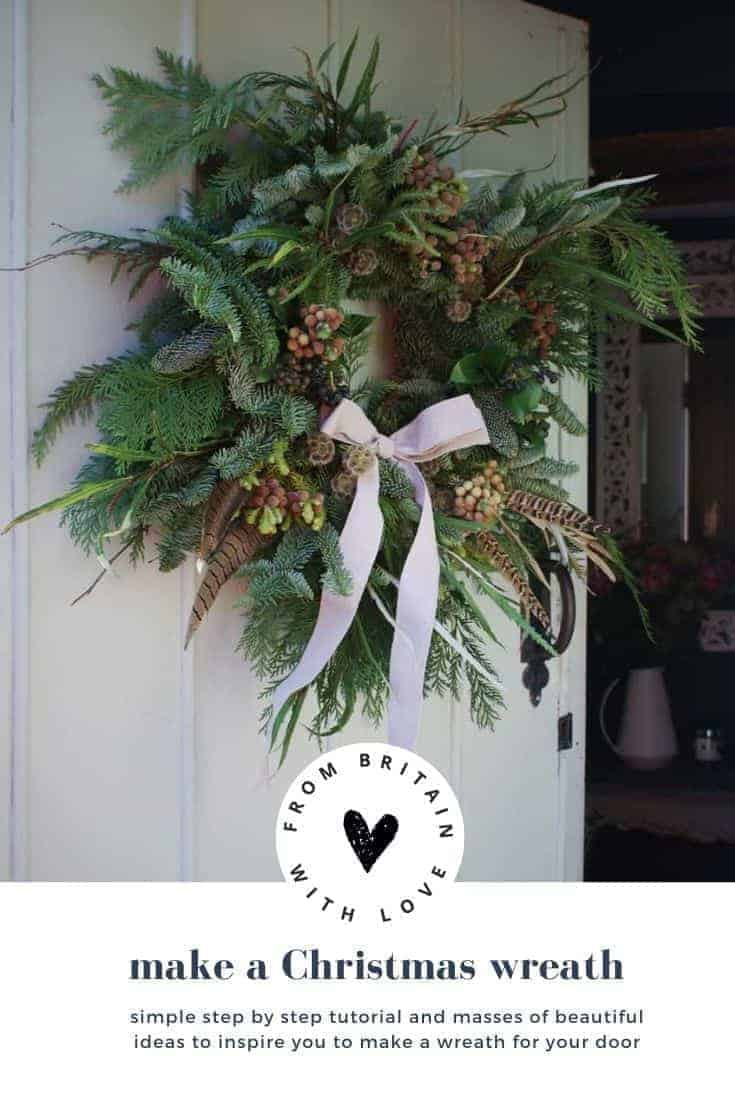 christmas wreath tutorial - diy step by steps to making your own fresh wreath for your door with the sussex flower school - click through for simple steps and masses of beautiful ideas to inspire you to make your own holiday christmas wreath for your door #christmaswreath #tutorial #fresh #rustic