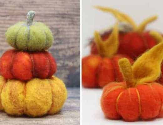 halloween decorations felted wool pumpkins DIY tutorial free pattern download and step by steps from Sandy of Lincolnshire Fenn Crafts #halloweendecorations #halloween #pumpkins #tutorial #felt