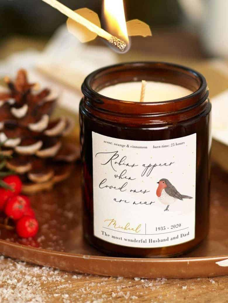 christmas candle hand poured personalised cinnamon and orange made in england with robin #christmas #candle #soy #handmade #personalised