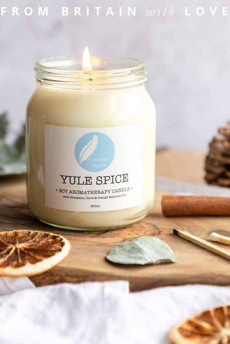 yule spice christmas candle handmade by aromatherapy expert Corinne Taylor in England - one of my favourite festive holiday candles right now #candles #christmas #soy #aromatherapy #handmade