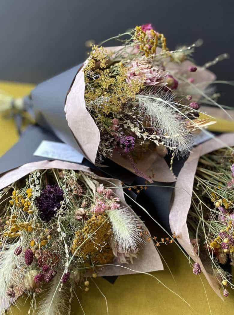 dried flower bouquet seasonal sustainable british flowers by kirsten Mackay of Henthorn Farm Flowers #dried #flowers #british #sustainable