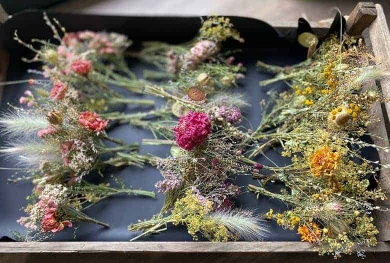 dried flower buttonhole mini bouquet posies seasonal sustainable british flowers by kirsten Mackay of Henthorn Farm Flowers #dried #flowers #british #sustainable