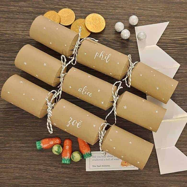 plastic free fill your own personalised kraft card eco christmas crackers from etsy #christmascrackers #eco #plasticfree #diy #fillyourown