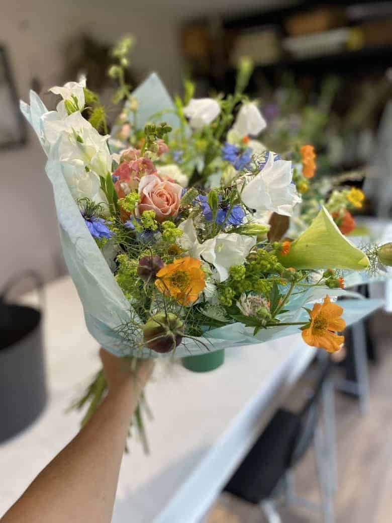 summer flowers blue and lemon roses, lily cornflowers sustainable british flowers from henthorn farm in lancashire - kirsten mackay shares her tips and ideas for growing and arranging seasonal and sustainable british flowers #british #flowers #sustainable #seasonal
