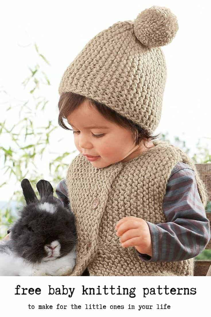 free baby knitting patterns gilet hat garter stich gilet vest and pom pom baby knitting pattern by bergere de france just one of the adorable knitting project ideas I've shared over on the blog that I hope you'll enjoy making for the little ones in your life #knitting #pattern #baby #free
