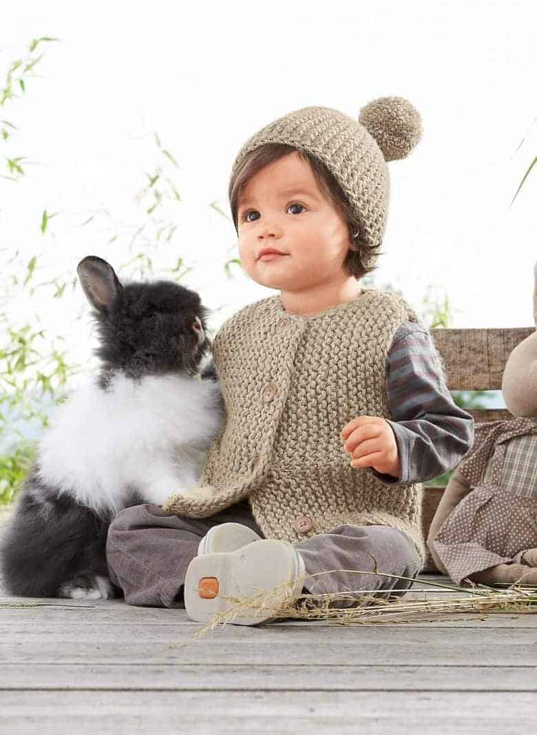 gilet hat garter stich gilet vest and pom pom baby knitting pattern by bergere de france just one of the adorable knitting project ideas I've shared over on the blog that I hope you'll enjoy making for the little ones in your life #knitting #pattern #baby #free