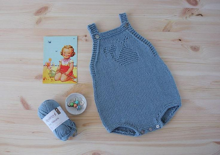 romper suit free baby knitting pattern